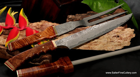 Unique best quality handmade carving set from Salter Fine Cutlery