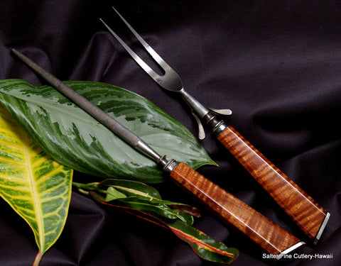 Your favorite knives or knife set re-handled with our curly Hawaiian koa wood