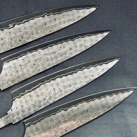 New Charybdis blades with whirlpool pattern and distinctive white accent line now in stock in limited sizes and quantities at Salter Fine Cutlery
