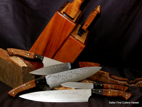 Combination chef and steak knife set with light wood knife block by Salter Fine Cutlery of Hawaii