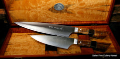 2-pc chef set featuring aogami super clad blades and decorative handles in a gift box