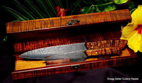 2-piece custom chef knife set in special request custom keepsake display box