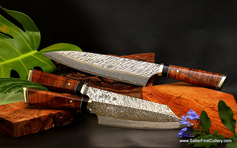 Custom made-to-order 3-piece kitchen knife set luxury for gourmet kitchens from Salter Fine Cutlery of Hawaii