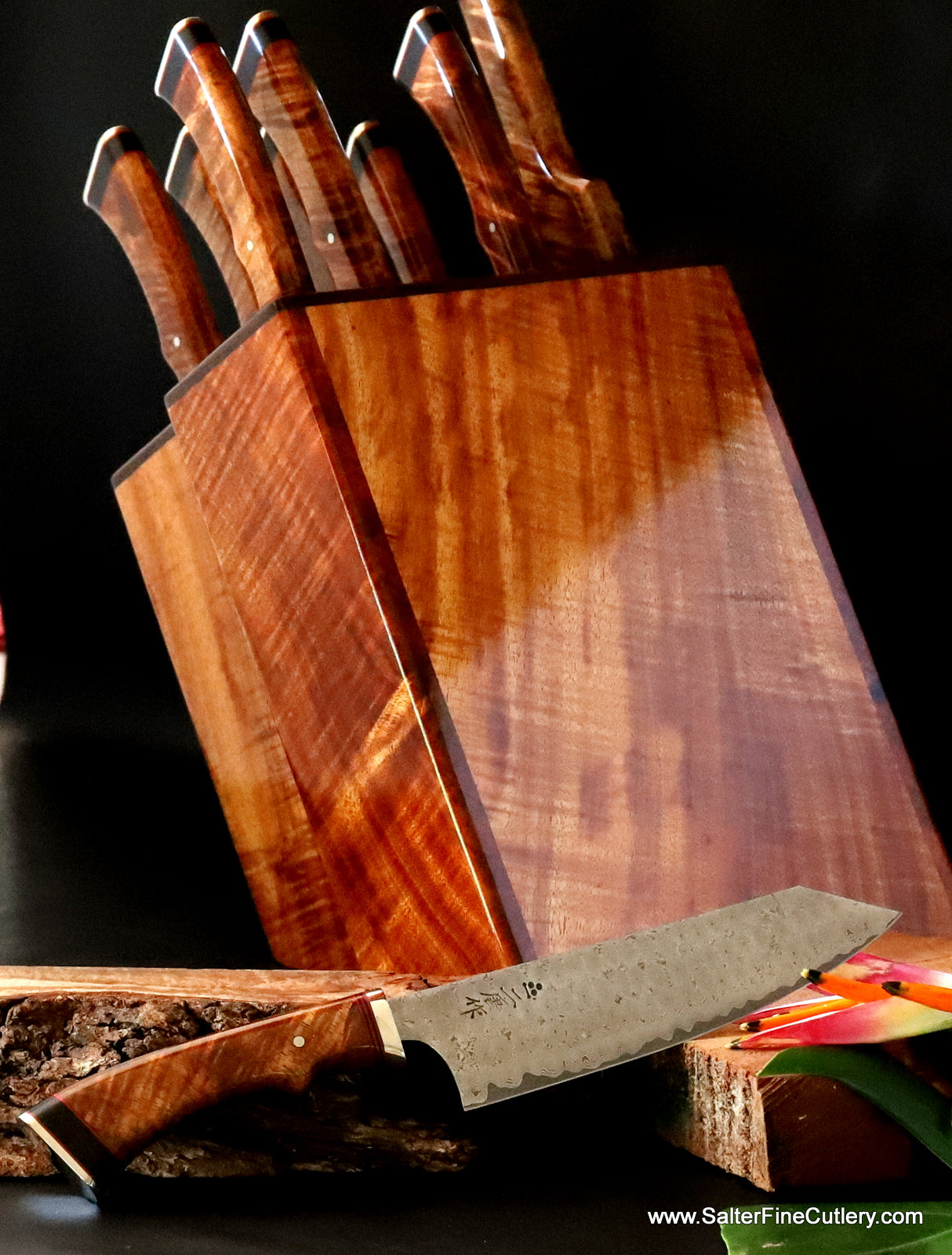 Large luxury handmade chef knife set in knife block by Salter Fine Cutlery of Hawaii