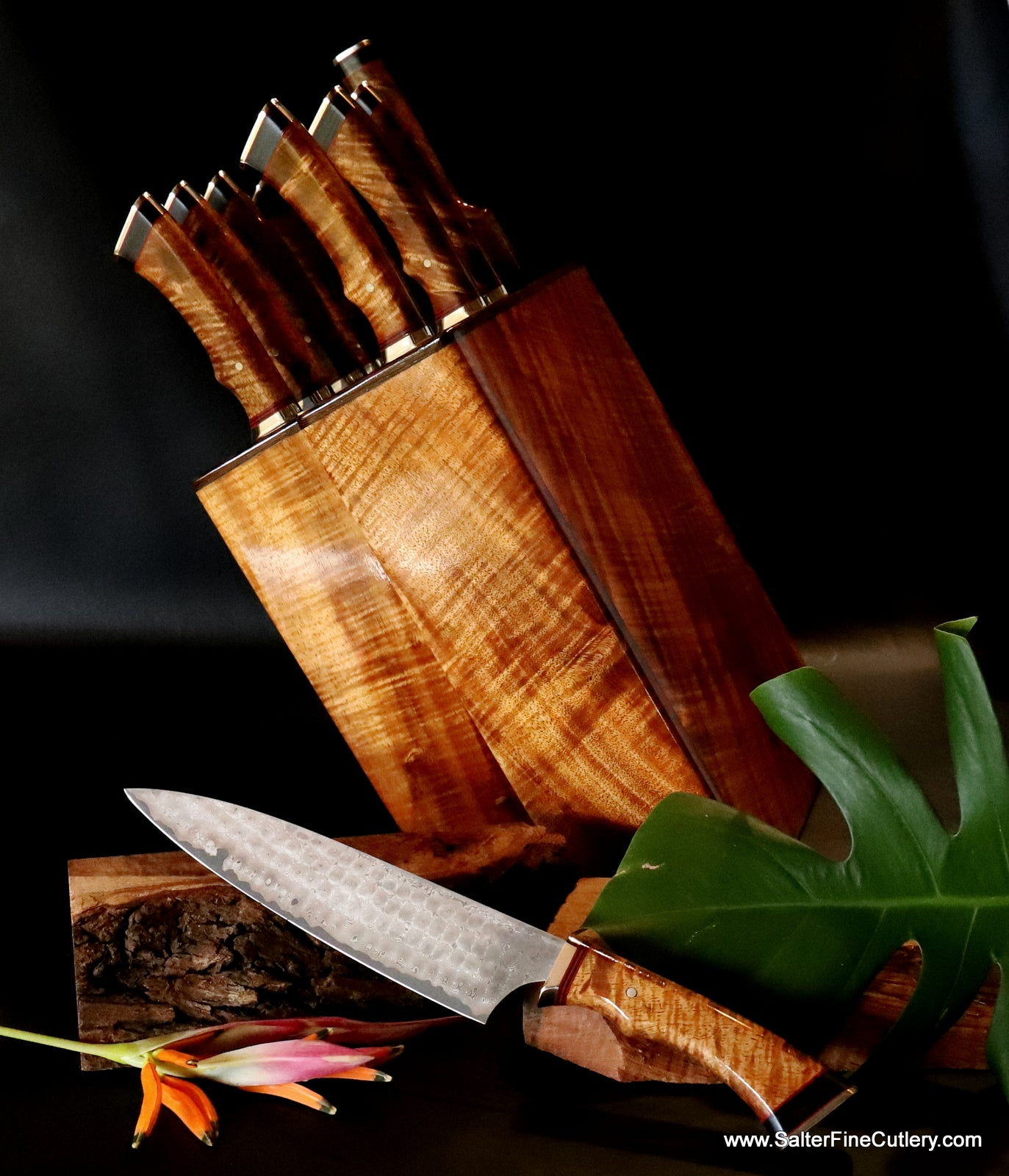 9-piece custom chef knife set with custom knife block made for Tommy Mottola by Salter Fine Cutlery of Hawaii