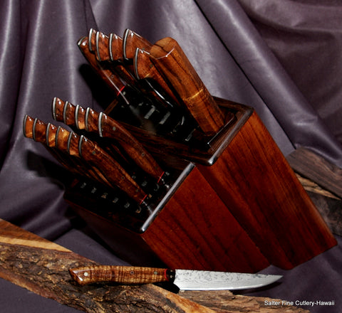 19-piece custom chef and steak knife set with black accents on knife block