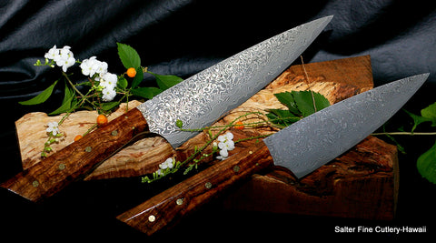 2-piece handmade chef knife set with VG10 stainless damascus handforged Japanese blades and exotic handcrafted Hawaiian koa wood handles