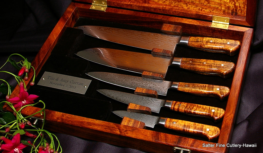 Boxes set of handmade chef knives unique heirloom wedding gift in a presentation box from Salter Fine Cutlery