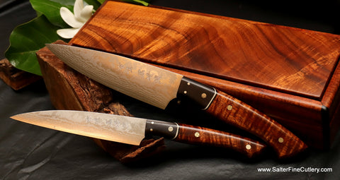 2-pc handmade small chef set with SRS13 damascus stainless steel blades