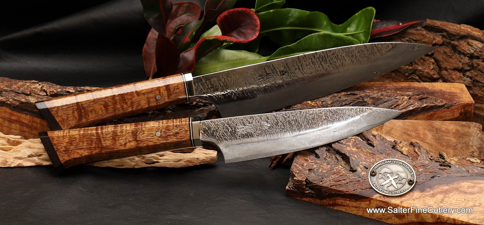 2-pc handmade custom raptor design chef knife set highest quality chef knives from Salter Fine Cutlery