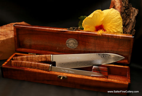 Affordable luxury gift with this 2-piece handmade mirror damascus kitchen knife set in box by Salter Fine Cutlery