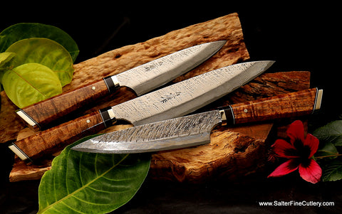 3-piece luxury quality Rapter-design kitchen knife set with artist series handles by Salter Fine Cutlery of Hawaii
