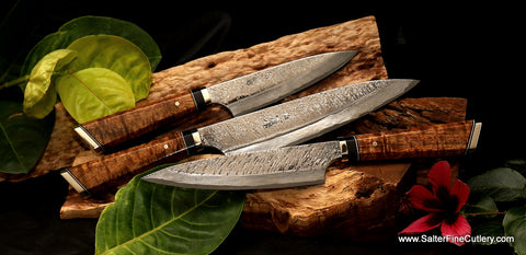 3-piece custom luxury hand-forged chef knife set with exclusive Raptor design blades and artist-series handles by Salter Fine Cutlery of Hawaii