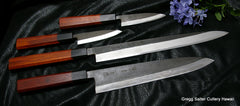 4-piece custom shirogami chef knife set with black matte finish 90 to 300mm blades