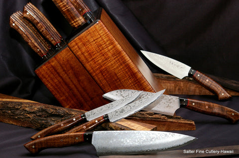 Custom handcrafted stainless damascus chef and steak knife set in exotic Hawaiian koa wood knife block by Salter Fine Cutlery of Hawaii