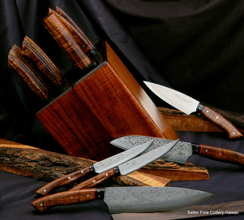 Bespoke cutlery combination chef-steak knife set in traditional style knife block by Salter Fine Cutlery