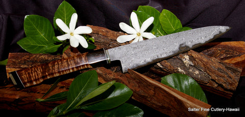 210mm chef knife with extra decorative handle using koa, ebony, nickel-silver and black and white decorative accents