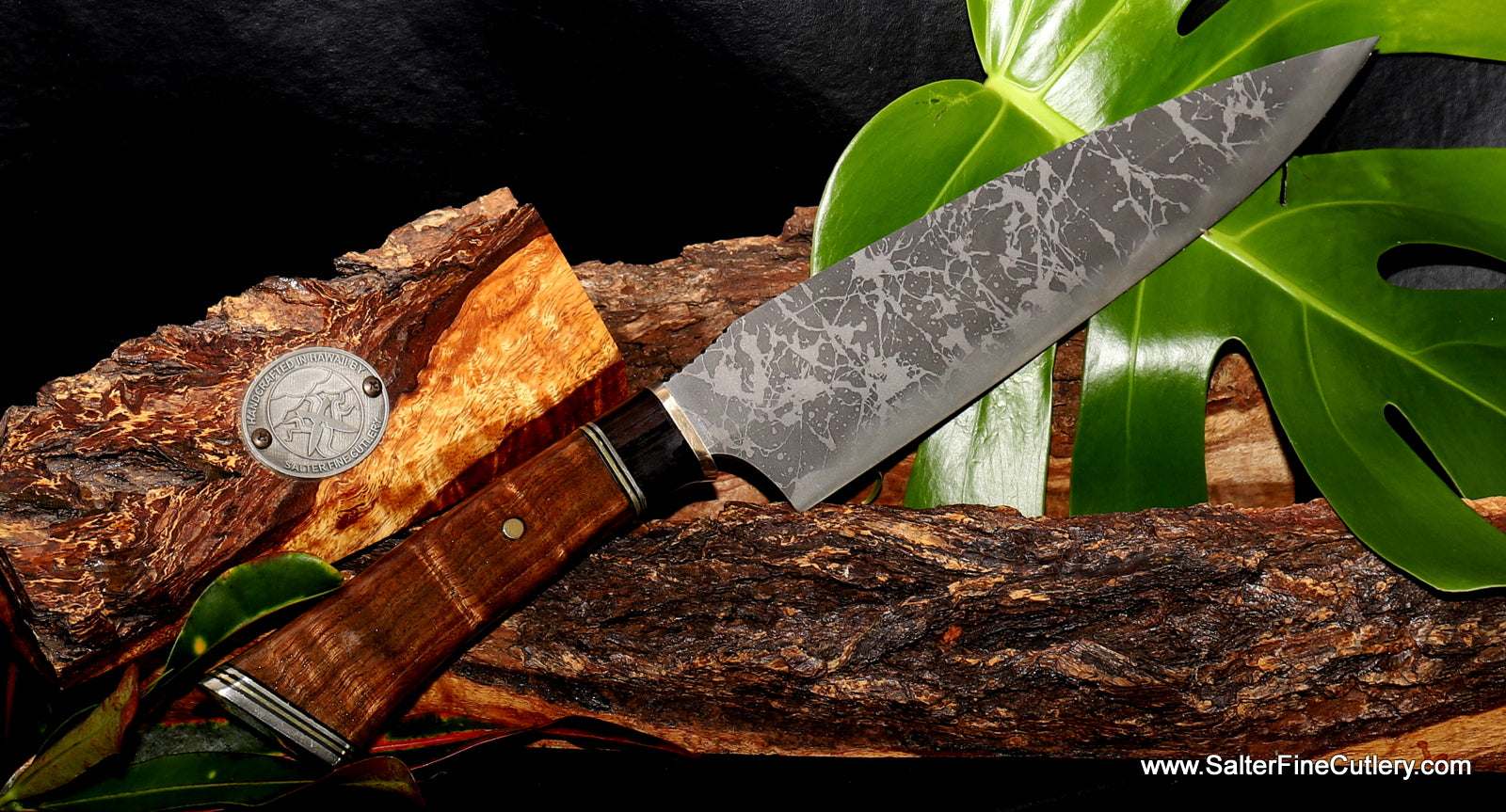 Very limited edition collectible knife with blade by Kiku made exclusively for Salter Fine Cutlery of Hawaii