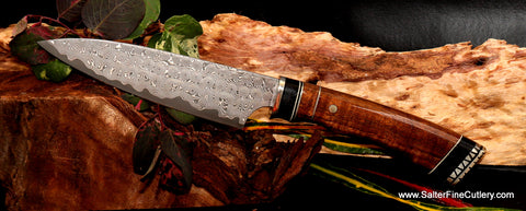Beautiful handmade collectible steak knife or small chef knife man cave gift by Salter Fine Cutlery