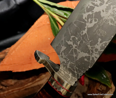 Special gambler edition custom knife with heart handguard from Salter Fine Cutlery