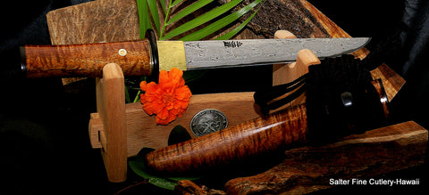 Specialty collectible knives featuring the signature Charybdis whirlpool pattern here with a Yoroi Doshi style artistic handle interpretation by Gregg Salter