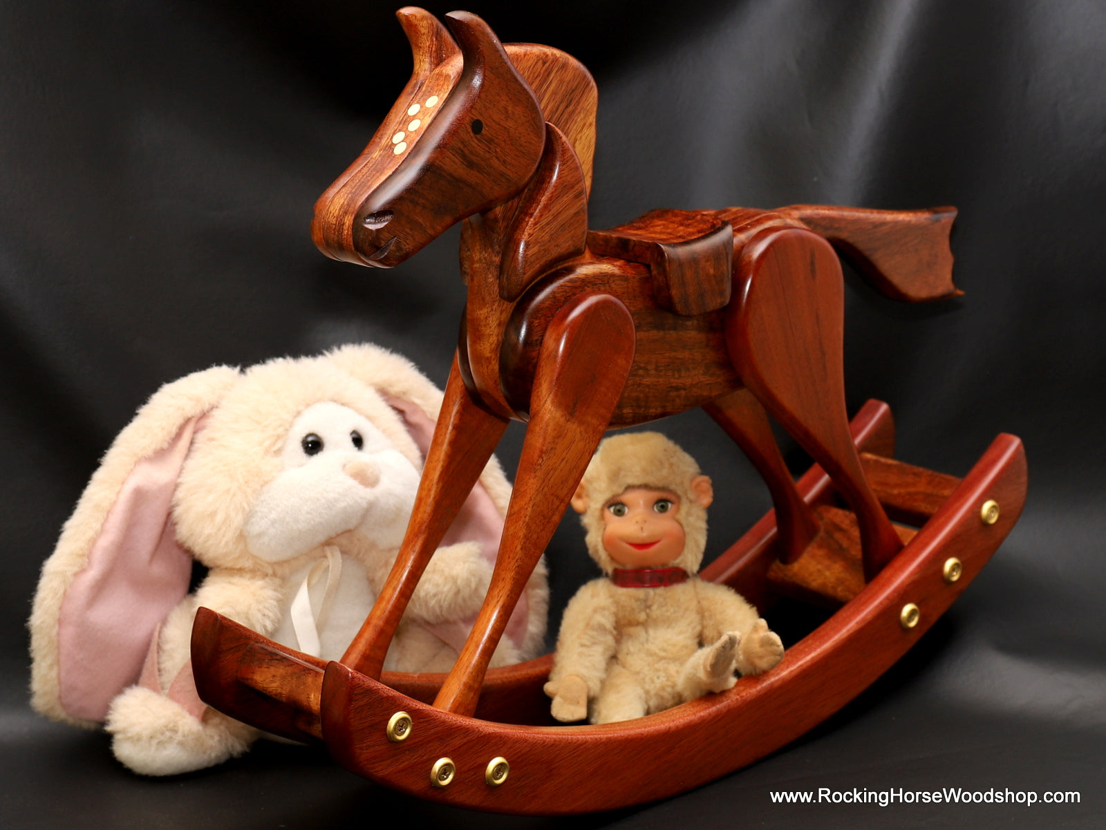 Tabletop handcrafted rocking horse for nursery display by Salter Fine Cutlery