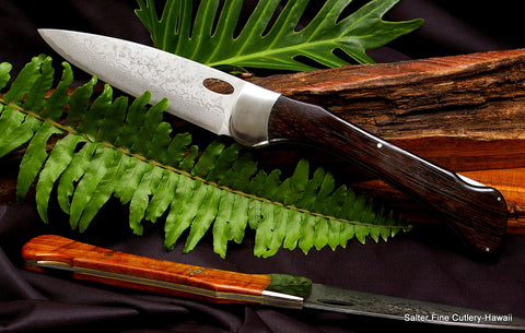 Folding chef knife with wenge wood handle