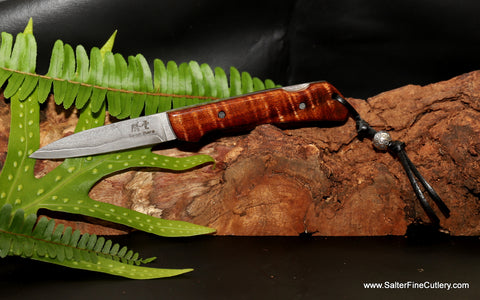 Folding gentleman's pocket knife with koa wood handle from Salter Fine Cutlery of Hawaii