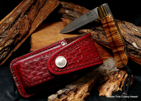 Handmade Salter-Ihara collaboration folding pocket knife with 3.5 inch Japanese damascus blade and custom handmade leather sheath