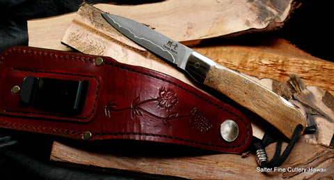 Custom handcrafted folding knife by Salter Fine Cutlery for wine enthusiasts