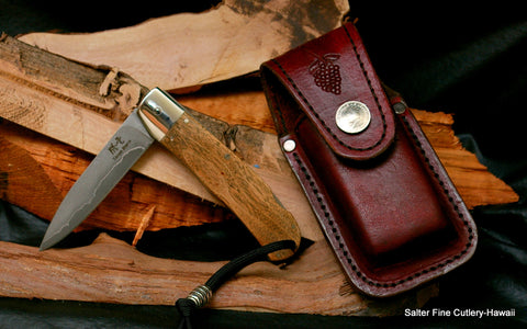 Salter-Ihara collaboration folding knife with custom handle and sheath