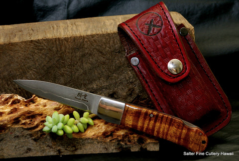 Handmade pocket knife with 3.5 inch blade and Hawaiian curly koa wood handle by Salter Fine Cutlery