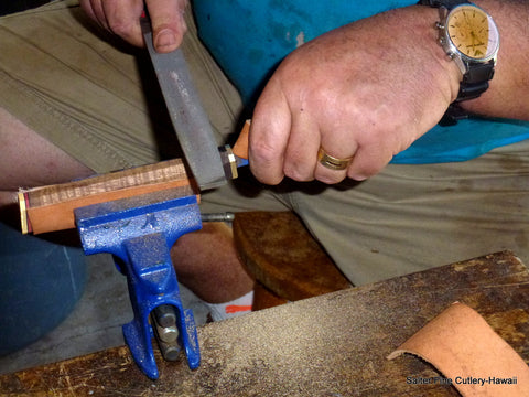 Gregg Salter making knife handles at his Hawaii workshop