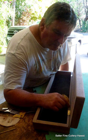 Gregg Salter making a presentation box for a 10-piece steak knife set