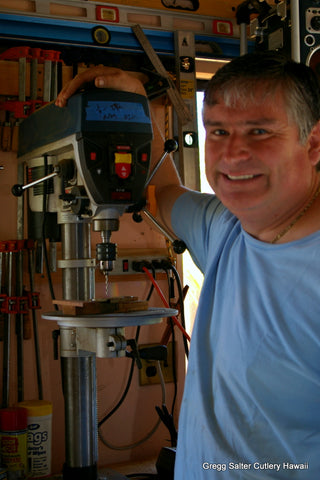 Gregg Salter of Salter Fine Cutlery in his Hawaii workshop