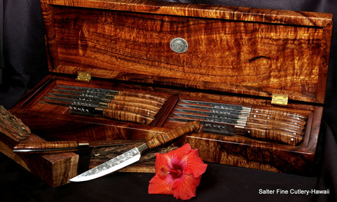 Luxury custom handmade large steak knife set in gorgeous presentation box by Salter Fine Cutlery
