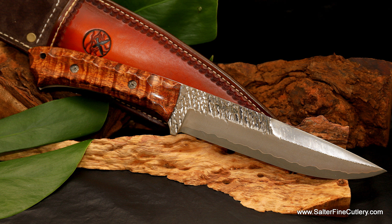 Custom handmade combination Raptor-River design pattern collectible knife exclusively from Salter Fine Cutlery