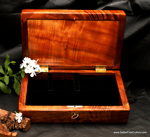 Handcrafted Hawaiian curly koa wood jewelry box with padded and velvet liners by Salter Fine Cutlery