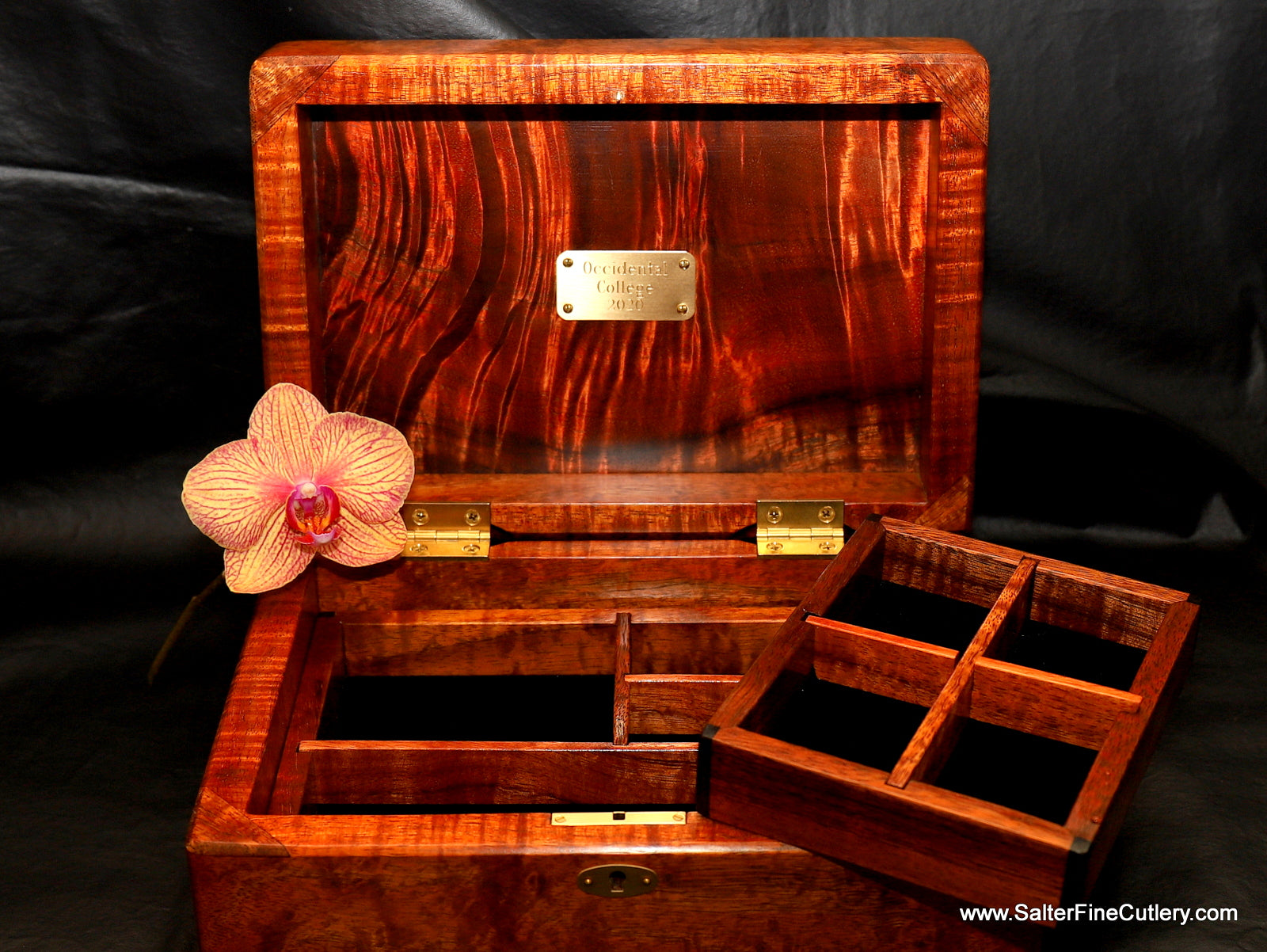 Ladies special request jewelry box with custom trays and engraved plate by Salter Fine Cutlery of Hawaii