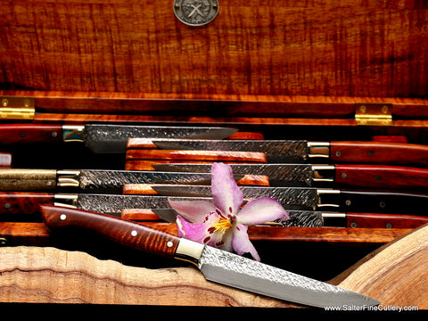 Rare curly kiawe wood pairs well with nickel-silver our Raptor design steak knife by Salter Fine Cutlery of Hawaii