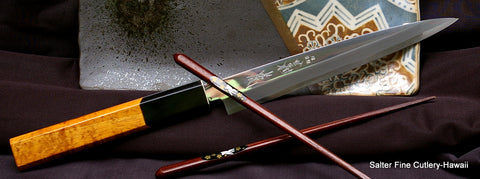 Shirogami carbon steel slicing or sashimi knife with mirror polish finish