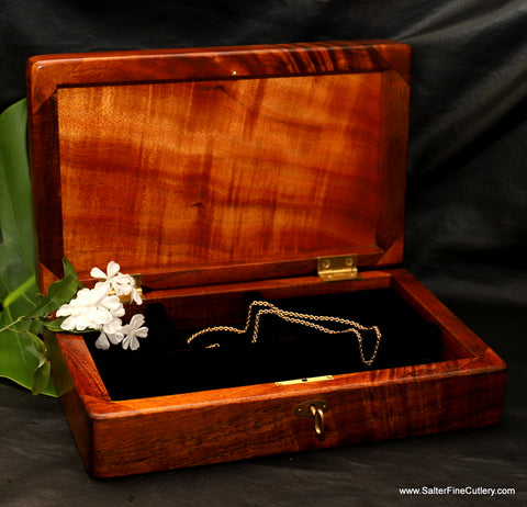 Medium Jewelry or Treasures Box handcrafted from curly koa wood by Salter Fine Cutlery of Hawaii