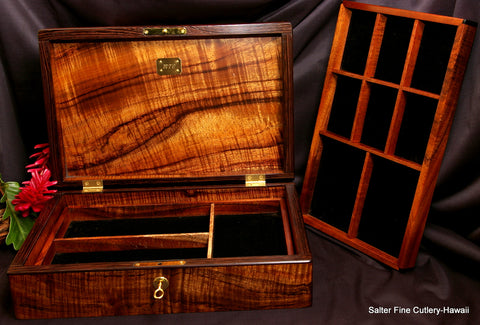 Handcrafted Hawaiian wood Jewelry box wedding gift by Salter Fine Cutlery Hawaii