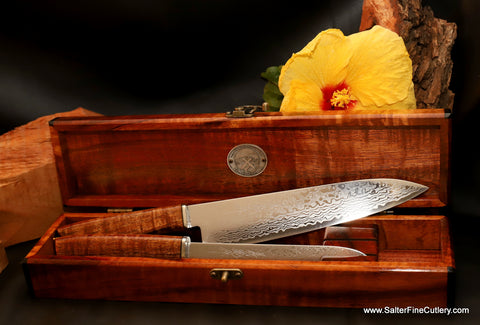 Beautiful custom handmade chef knife set in heirloom keepsake box by Salter Fine Cutlery of Hawaii