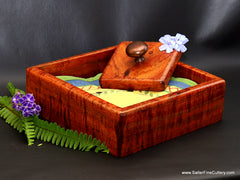 Custom napkin holder with weighted bronze knob handcrafted by Salter Fine Cutlery and Woodworking of Hawaii