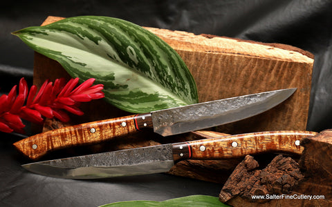 New exclusive Magma-series steak knives with 5-inch blade from Salter Fine Cutlery of Hawaii