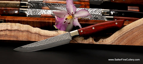 Raptor full-tang version steak knife with padauk wood handle and nickel-silver bolster from Salter Fine Cutlery