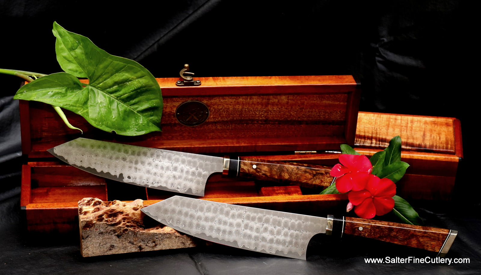 Pair of 180mm custom Salter exclusive design bunka knives in keepsake boxes