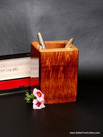 Solid Hawaiian curly koa wood pen holder with softer Spanish cedar internal lining handcrafted in your choice of size by Salter Fine Cutlery specialty woodworking in Hawaii