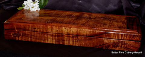 Handcrafted curly koa wood presentation box with 'framed' decorative upgrade lid